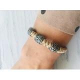 Браслет из миникорда, Snake Knot с 3 бусинами ручного литья, 068