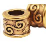 Бусина Трубка Античный стиль, золото
