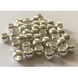 Бусина - разделитель Бочонок металлический овальный, цвет серебро