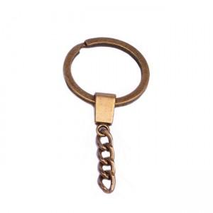 Плоское кольцо с цепочкой, 30мм, бронза