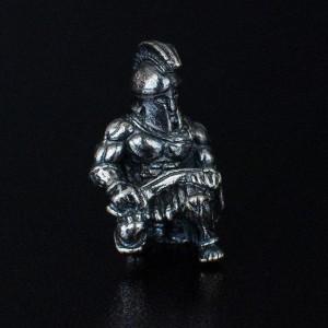 """Бусина для темляка """"Спартанец"""", ручного литья с серебряным покрытием"""