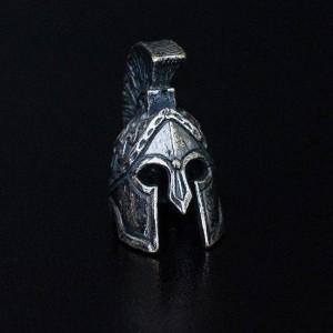 """Бусина для темляка """"Шлем Спартанца"""", ручное литье с серебряным покрытием"""