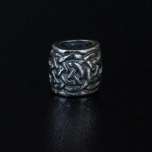 """Бусина для темляка """"Плетенка """", ручного литья с серебряным покрытием"""