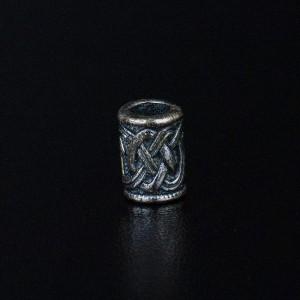 """Бусина для темляка """"Плетенка 2"""", ручного литья с серебряным покрытием"""