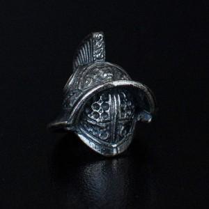 """Бусина для темляка """"Шлем Гладиатора"""", ручное литье с серебряным покрытием"""