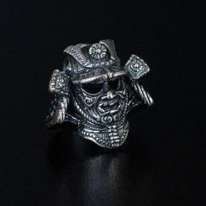 """Бусина для темляка """"Шлем Самурая"""", ручное литье, с серебряным покрытием"""