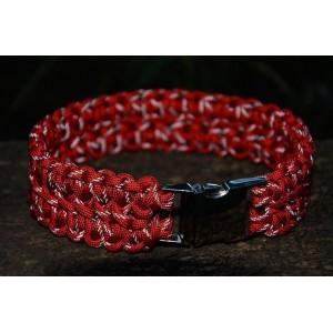 """Ошейник для собак, из паракорда, плетение """"Сдвоенная кобра"""" светоотражающий (красный)"""