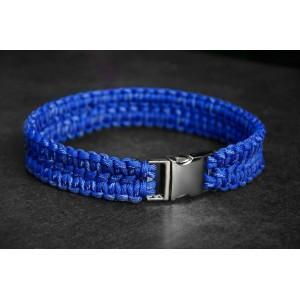 """Ошейник для собак, из паракорда, плетение """"Сдвоенная кобра"""" светоотражающий (синий)"""
