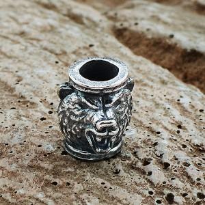"""Бусина для темляка """"Медведь"""", ручное литье с серебряным покрытием"""