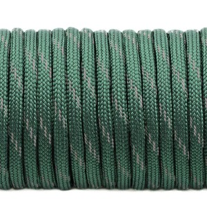 Paracord 550, reflective X3 dark emerald green #r3022 (светоотражающий)