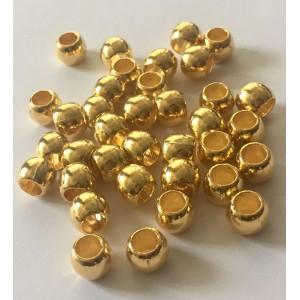 Бусина - разделитель Бочонок металлический овальный, цвет золото