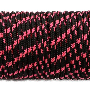 Paracord 275 (2,2mm), black with pink X #112-2