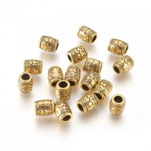 Бусина-наконечник Бочонок с орнаментом, бронза