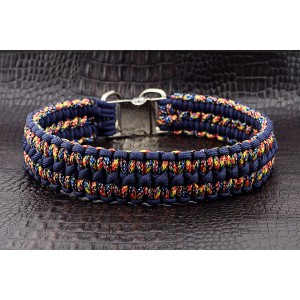"""Ошейник для собак, из паракорда, плетение """"Сдвоенная кобра"""""""