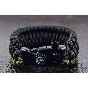 Браслет выживания, плетение Трилобит Cetus Trilobitе, Black Army green