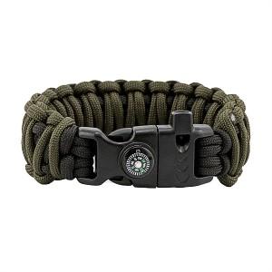 "Браслет выживания, ""Двойная кобра"",  Black/ Army green"