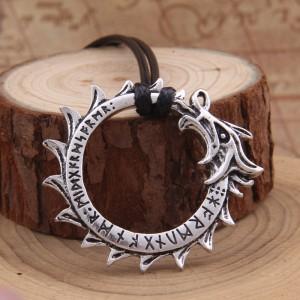 Амулет Рунический дракон. Металл. Цвет: Античное серебро