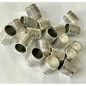 Бусина металлическая Трубка. Цвет: Античное Серебро, Размер: 14х13мм, Отверстие 10мм