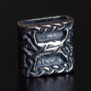 Бусина для темляка, бусина для браслета № 2, ручное литье, с серебряным покрытием
