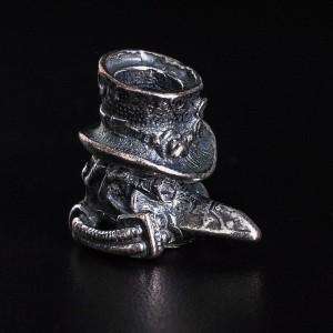 """Бусина для темляка """"Ворон в шляпе"""", ручное литье с серебряным покрытием"""