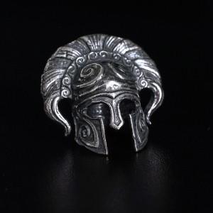 """Бусина для темляка """"Греческий шлем"""", ручное литье с серебряным покрытием"""