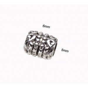 Бусина металлическая Цилиндр Узор. Цвет: античное серебро. Размер 6x5 мм, диаметр 3мм