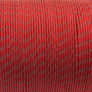 Minicord Reflective. Paracord 100 Type I (1.9 mm), red fire #R2021F-type1