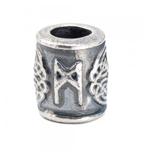 """Бусина для темляка """"Руна Манназ"""", ручное литье с серебряным покрытием"""
