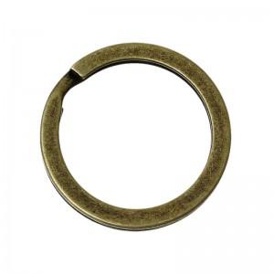 Кольцо плоское для ключей, 25 мм старая латунь