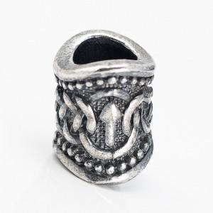 Бусина Руна викингов, ручное литье с серебряным покрытием